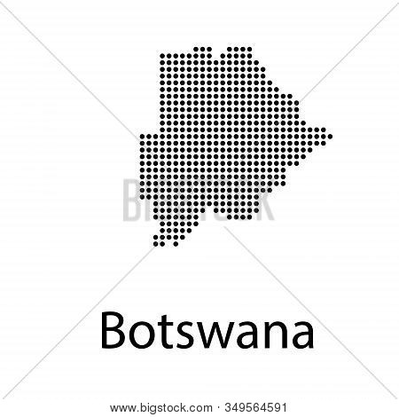 Abstract mash line and point scales on dark background with Map of botswana. Wire frame 3D mesh polygonal network line, design sphere, dot and structure. communications map of botswana. stock photo