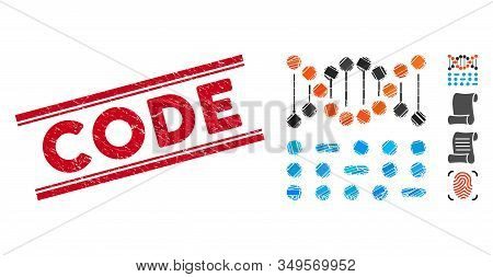 Mosaic genome code icon and red Code stamp between double parallel lines. Flat vector genome code mosaic pictogram of random rotated rectangular items. Red Code rubber stamp with rubber surface. stock photo