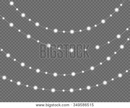 Glowing lights for holidays. Transparent glowing garland. White glowing lights for greeting card design. Garlands, decorations stock photo