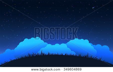 Night sky background. Hill and cloud at night sky and star. Vector illustration. stock photo