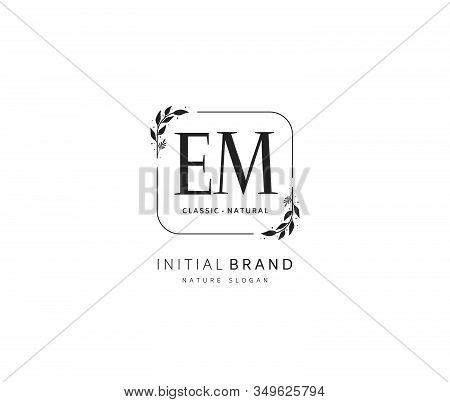 E M EM Beauty vector initial logo, handwriting logo of initial signature, wedding, fashion, jewerly, boutique, floral and botanical with creative template for any company or business. stock photo