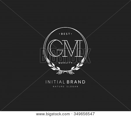 G M GM Beauty vector initial logo, handwriting logo of initial signature, wedding, fashion, jewerly, boutique, floral and botanical with creative template for any company or business. stock photo