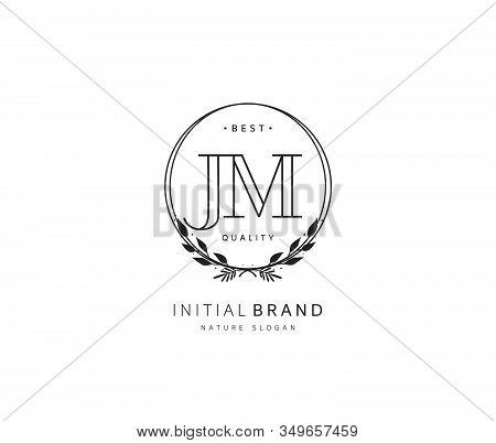 J M JM Beauty vector initial logo, handwriting logo of initial signature, wedding, fashion, jewerly, boutique, floral and botanical with creative template for any company or business. stock photo