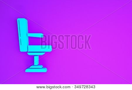 Blue Barbershop chair icon isolated on purple background. Barber armchair sign. Minimalism concept. 3d illustration 3D render stock photo