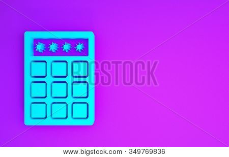 Blue Password protection and safety access icon isolated on purple background. Security, safety, protection, privacy concept. Minimalism concept. 3d illustration 3D render stock photo
