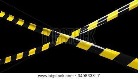Yellow-black protective tape close-up on a black background. stock photo