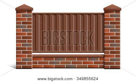 A brick fence made of bricks with a metal profile. stock photo