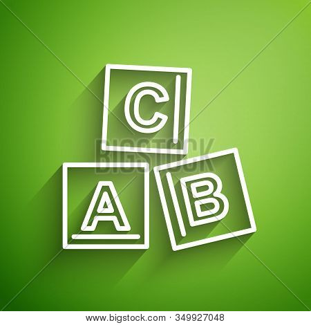 White line ABC blocks icon isolated on green background. Alphabet cubes with letters A, B, C. Vector Illustration stock photo