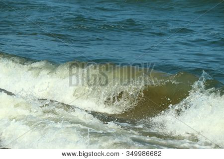 close up of crystal water wave of blue sea on the beach, sea wave, Sea waves on beach. Sea beach, marina beach in Chennai. beach and sky. beach background. beaches of India, beaches of Asia stock photo