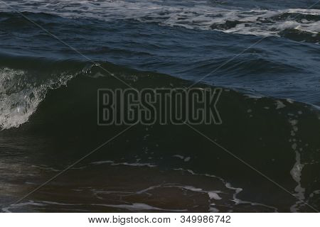 close up of crystal water of blue sea on the beach, sea wave.Sea waves on beach. Sea beach, marina beach in Chennai. beach and sky. beach background. beaches of India, beaches of Asia stock photo