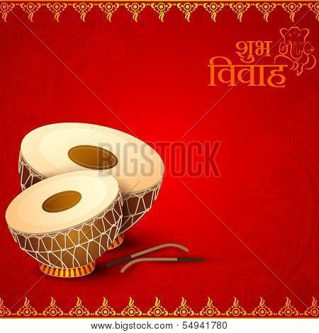 Drum In Indian Wedding Invitation Card 54941780 Image