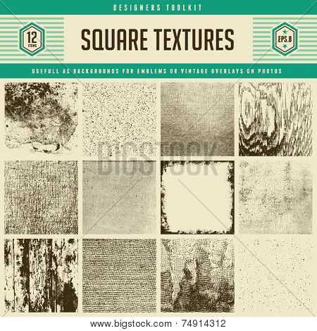 set of 12 detailed vector textures - from subtle halftones to heavily distressed wood and wall textu