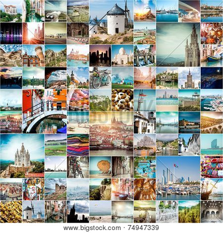 collage of travel photos from different cities of the world stock photo