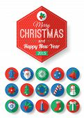Set of Christmas typographical name and round level symbols with long shadow. Christmas components f