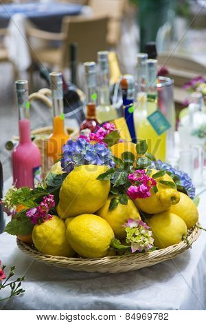 Lemons for sale at market stall, Ravello, Amalfi Coast, Salerno, Campania, Italy-Lg Fridge Magnet Skin (size 36x65)
