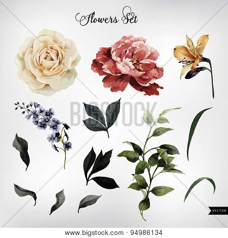 Flowers And Leaves, Watercolor, Can Be Used As Greeting Card, Invitation Card For Wedding, Birthday