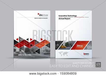 Business vector set. Brochure template layout, cover design annual report, flyer in A4 with red triangles, arrows for business, buildings, nature on bright background. Abstract creative design. stock photo