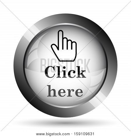 Click here icon. Click here website button on white background. stock photo