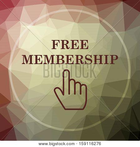 Free membership icon. Free membership website button on khaki low poly background. stock photo