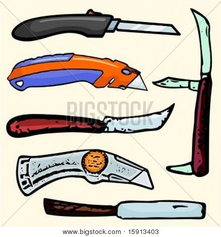 A set of 6 vector illustrations of box cutters and knives. Check my portfolio for many more images. stock photo