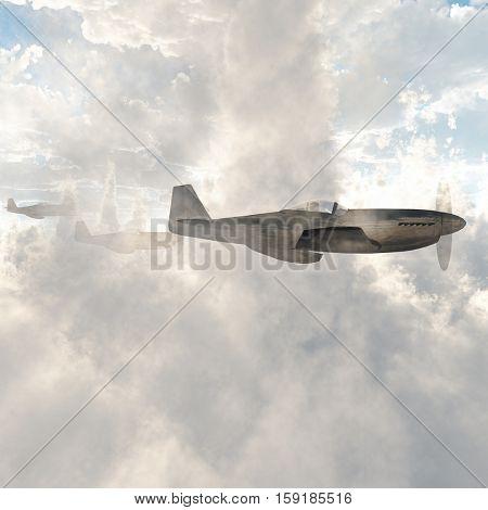 Warplanes in the clouds   3D Render stock photo