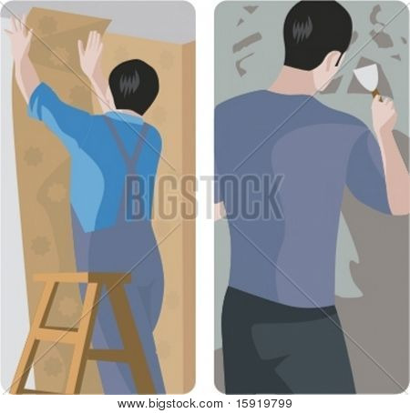 A set of 2 vector illustrations of workers. 1) Worker pasting wallpaper. 2) Worker making a plaster.