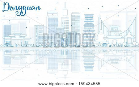 Outline Dongguan Skyline with Blue Buildings and Reflections. Business Travel and Tourism Concept with Modern Architecture. Image for Presentation Banner Placard and Web Site. stock photo
