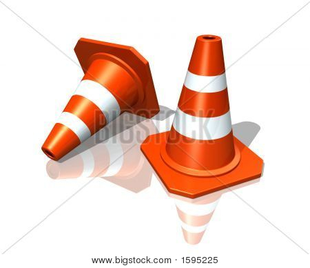 Traffic cones over white reflective background (3D illustration) stock photo