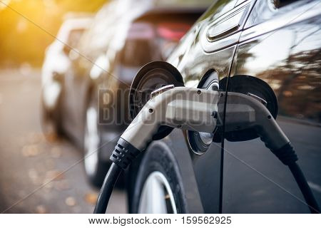 Electric car charging on parking lot with electric car charging station on city street. Electric cars in the row ready for charge. Close up of the power supply plugged into an electric car being charged.