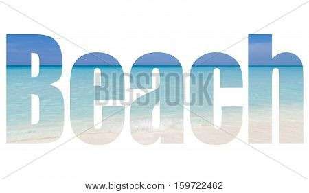 Dream beach with waves and horizon view in Varadero Cuba a lettering stock photo