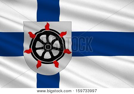 Flag Of Lahti is a city and municipality in Paijanne Tavastia region in Finland. 3d illustration stock photo
