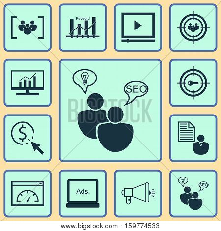 Set Of 12 Advertising Icons. Can Be Used For Web, Mobile, UI And Infographic Design. Includes Elements Such As Research, Businessman, Audience And More. stock photo