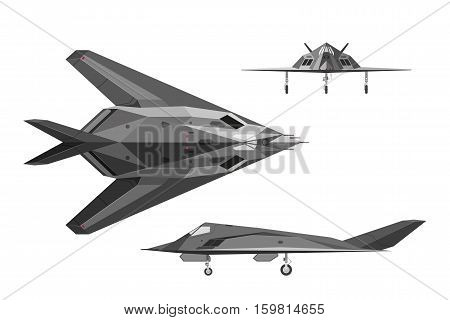 Military stealth aircraft F-117. War plane in three views: side top front. Jet airplane on white background. Vector illustration stock photo