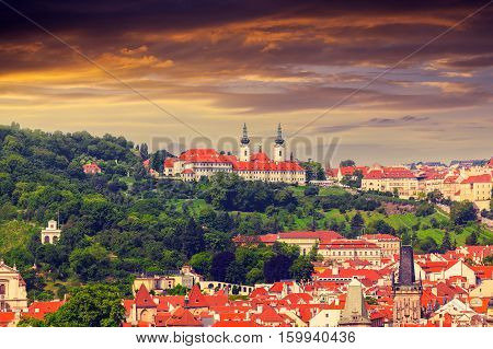 Panorama of Strahov monastery at sunset from clock tower, top view, Prague, Czech Republic stock photo