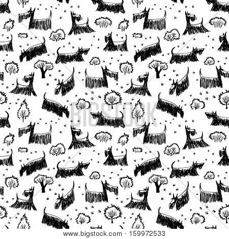 Cute doodle seamless pattern with Scotch Terrier dog breed. Outdoor pets with footprints and trees and bushes stock photo
