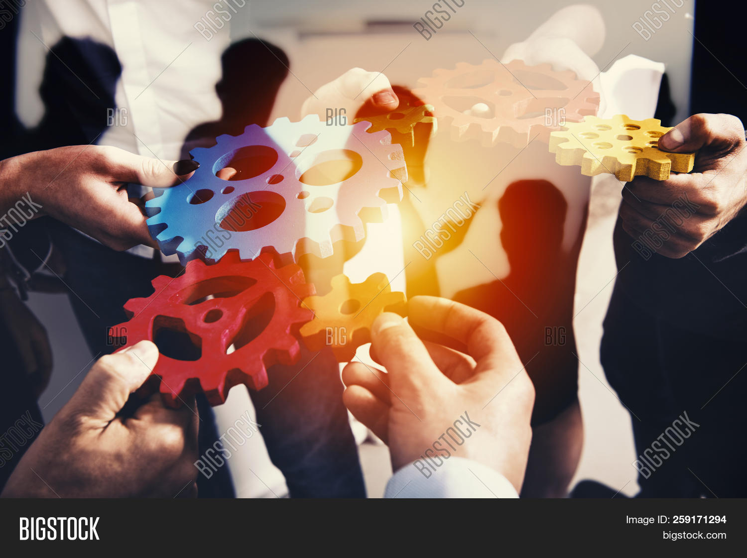 Business Team Connect Pieces Of Gears. Teamwork, Partnership And Integration Concept. Double Exposur