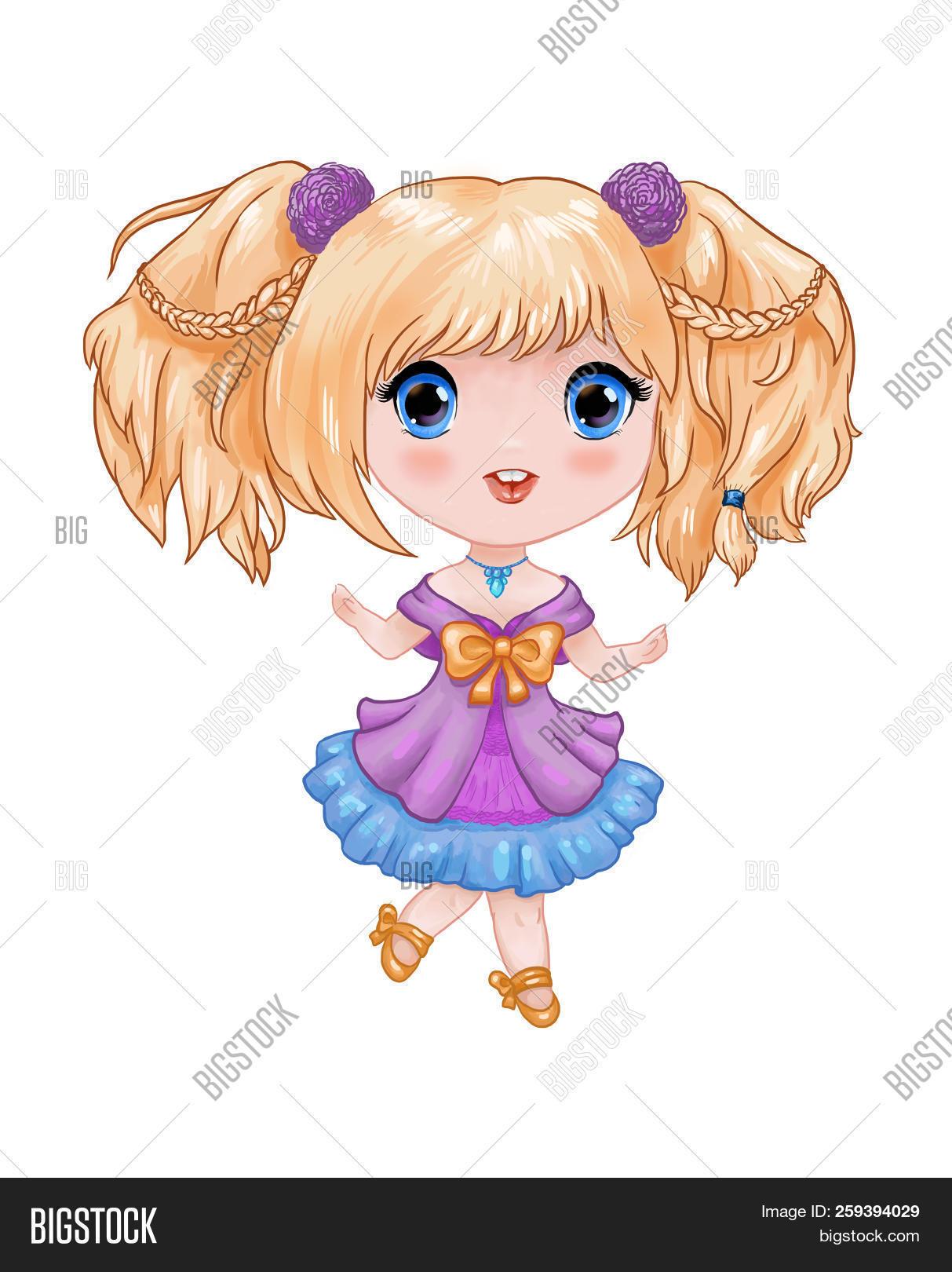 Chibi Illustration Little Cute Anime Girl In Purple Blue Dress