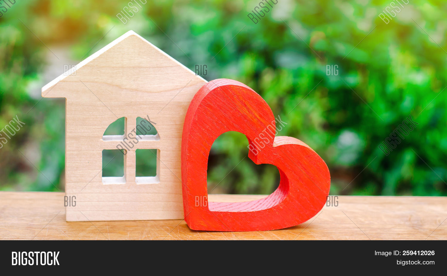 House With A Red Wooden Heart. House Of Lovers. Affordable Housing For Young Families. Valentine's D