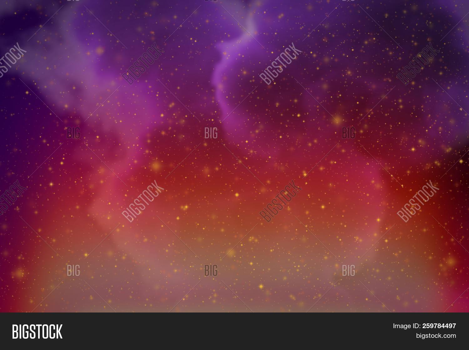 Abstract Fantasy Purple Space And Stars Colorful