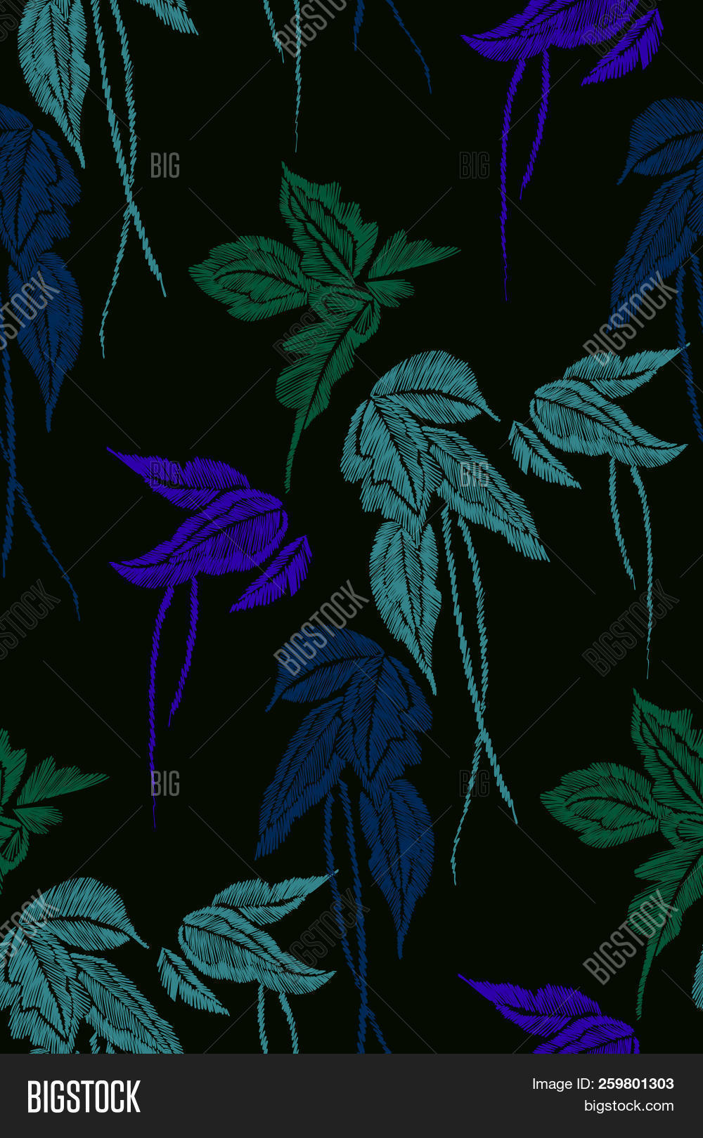Tropical Leaves Seamless Background Pattern Vector Illustration Hand Drawn Embroidery Design Image Stock Photo 259801303 It's hard to choose just one type of tropical leaf, that's why we created a visual guide to help you determine your fan palms, with their wide leaf size and fun geometric pattern, are perfect. tropical leaves seamless background