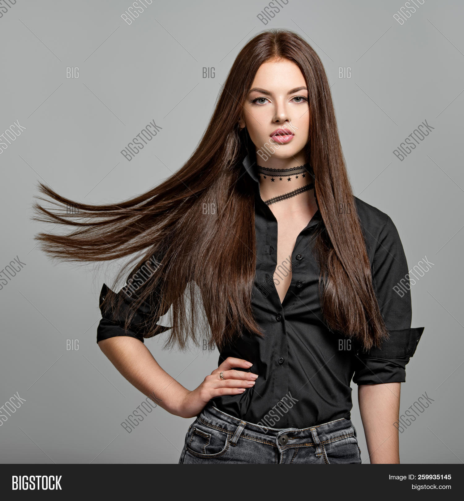 beautiful,beauty,black hair,brown hair,brunette,caucasian,fashion,female,girl,glamour,glossy,gray background,hairstyle,long,long hair,model,one,portrait,posing,pretty,shirt,straight,straight hair,studio,style,stylish,woman