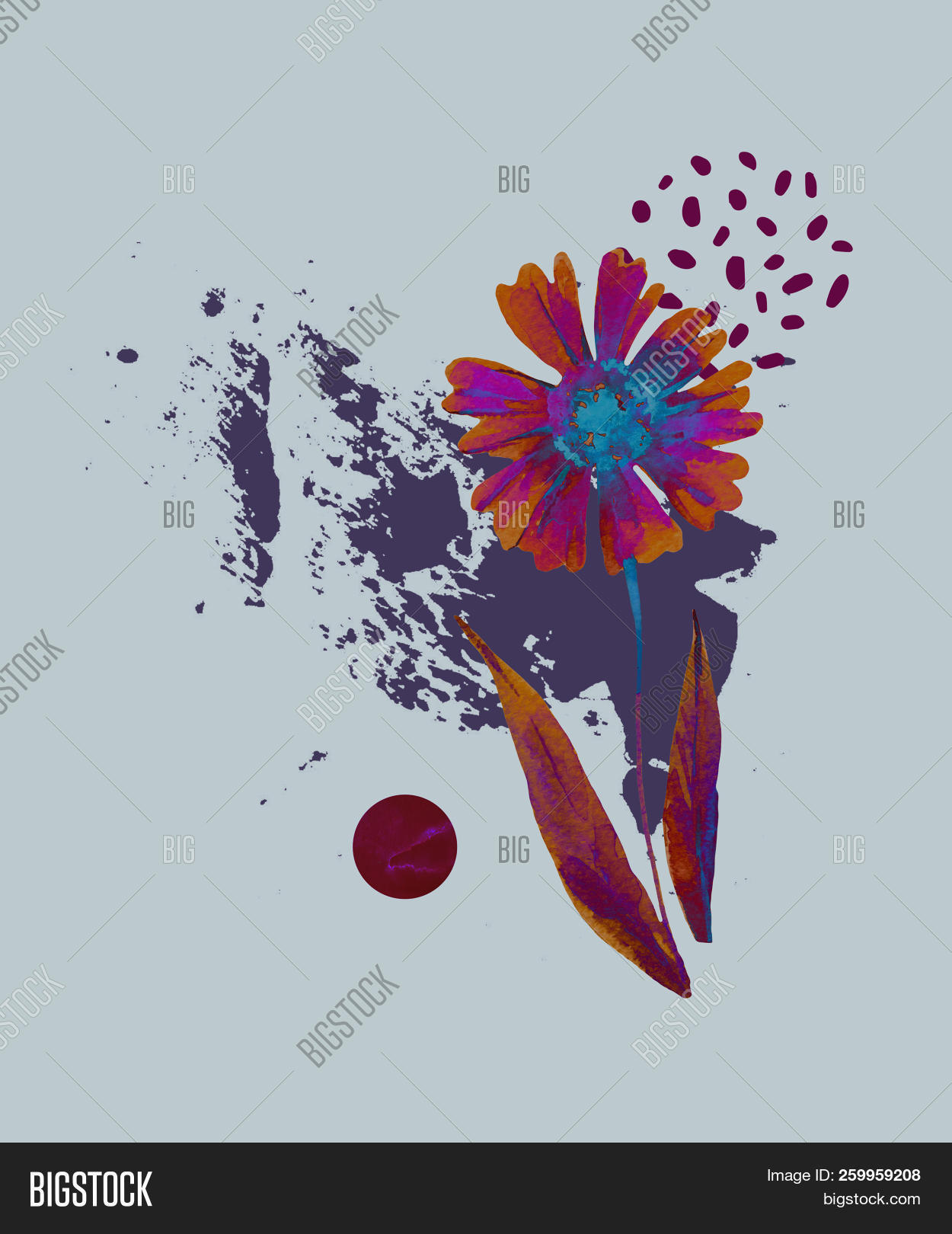 Abstract Floral Background Watercolor Fall Flowers And Leaves