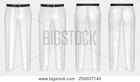 realistic pair of white pants with black belt, one clean and ironed, other crumpled, isolated on background. Casual wear, unisex trousers, mockup for your design, before and after ironing stock photo