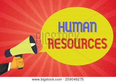 Conceptual hand writing showing Human Resources. Business photo text The people who make up the workforce of an organization stock photo