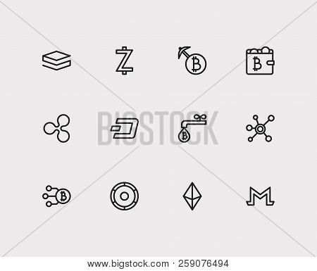 Crypto currency icons set. Coin faucet and crypto currency icons with stratis, mining and ethereum. Set of molecule for web app logo UI design. stock photo