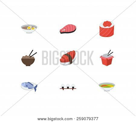 Nutrition icons set. Tako maki and nutrition icons with soup, noodle and salmon. Set of tradition for web app logo UI design. stock photo
