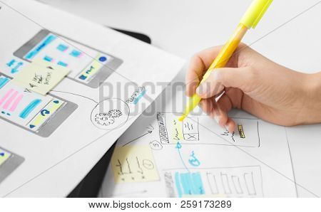 app design, technology and business concept - web designer working on user interface and creating layout at office stock photo