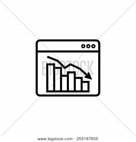 graph table arrow decrease icon. dollar money fall down symbol. economy stretching rising drop. Business lost crisis decrease. cost reduction bankrupt icon. vector illustration. stock photo
