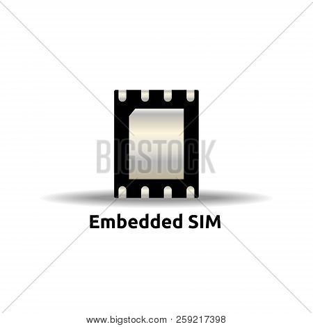 eSIM Embedded SIM card icon symbol concept. new chip mobile cellular communication technology. vector illustration in flat style. stock photo