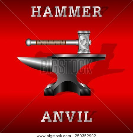 black anvil and forging hammer isolated on a red background. Vector Illustration stock photo
